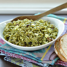 Orzo Salad with Spinach Pesto, Olives & Feta