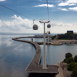 View from a cable car ...  by Kishu Sing - Transportation Other ( cable car; sea, lisbon, portugal )