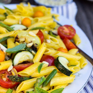 Grilled Vegetable Summer Pasta Salad with a Basil & Roasted Garlic Vinaigrette