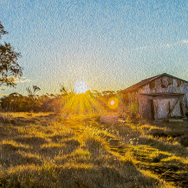 Sunset on the hill by Kathryn Cherry - Digital Art Places (  )