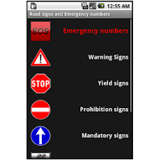 Road signs, emergency numbers