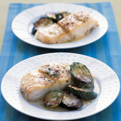 Roasted Halibut and Zucchini With Butter Sauce
