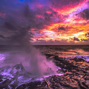 Monster Waves by Bertoni Siswanto - Landscapes Waterscapes ( big splash, beach, motion, waterscapes, landscapes,  )