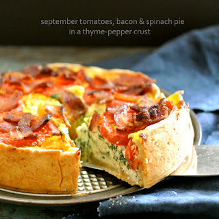 September Tomatoes, Bacon & Spinach Pie