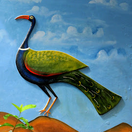 The National Bird by Adhiraj Ghosh - Painting All Painting ( wall art, sky background, traditional painting, indian bird, peacock )