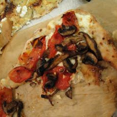 White Pizza with Slow Roasted Tomatoes and Mushrooms