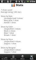 Screenshot of Shoe Collection