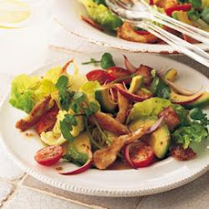 Stir-fried Chicken And Avocado Salad With Hot Balsamic Dressing
