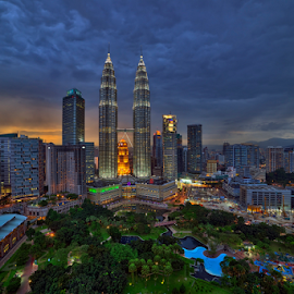 The Twin Towers at Sunset by Nur Ismail Mohammed - City,  Street & Park  Skylines ( klcc, hdr, klcc park, sunset, petronas, twin towers, city park )
