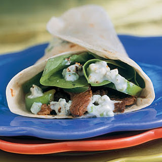 Hot Skillet Sirloin Wraps with Blue Cheese