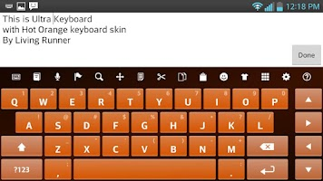 Screenshot of Hot Orange Keyboard Skin