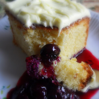 Lemon Pound Cake with a Blueberry Sauce