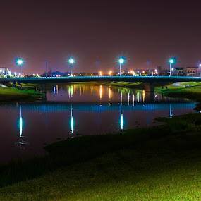 Bridge by Jay Chen - Buildings & Architecture Bridges & Suspended Structures ( reflection, night, bridge, river, nightscape )