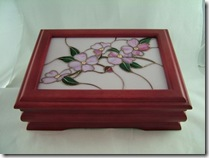 Rosewood Box with Dogwood Stained Glass by Nonnie