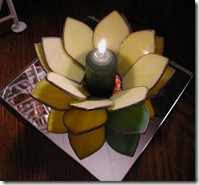 Yellow Lotus flower tea light by DianaStainedGlass