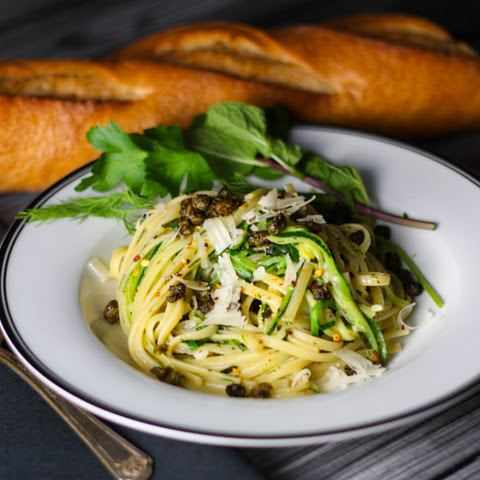 Half and Half Linguini with Fresh Herbs and Fried Capers