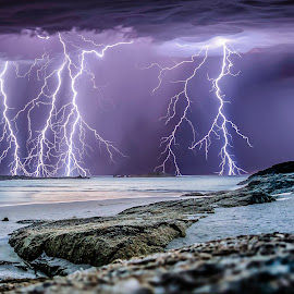 Denmark storm by Craig Eccles - Landscapes Weather ( thunder, lightning strike, lightning storm, lightning, thunder strike, rocks., weather, sea, ocean, thunder storm, thunder bolt, storm )