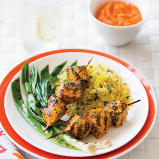 Grilled Chicken Kebabs with Romesco Sauce