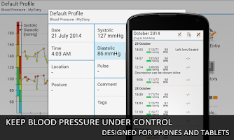 Screenshot of Blood Pressure Log - MyDiary