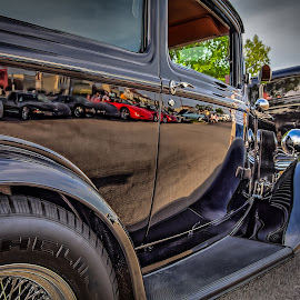 Old Reflects New by Ron Meyers - Transportation Automobiles
