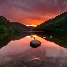 Fire in the sky. by Piotr Dominiak - Landscapes Mountains & Hills ( wicklow mountains, sunset, glendalough, upper lake, landscape )