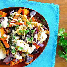 Middle Eastern Roasted Vegetables with Tahini Sauce
