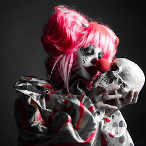 Kitty love by Kyle Rea - Public Holidays Halloween ( evil clowns, cosplay, horror art, clown, clowning, killer clown, halloween, clowns, , selective color, pwc )