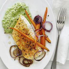 Broiled Halibut with Ricotta-Pea Puree