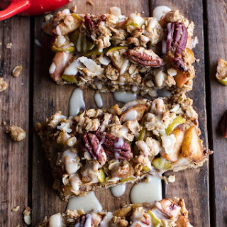 Brown Butter Caramelized Apple Crisp Bars w/Pecan Streusel + Mascarpone Maple Glaze.