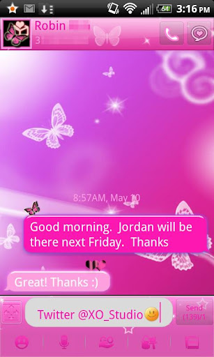 Pink Butterfly theme - GO SMS