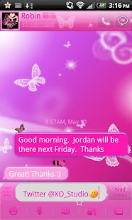 Pink Butterfly theme for GOSMS - screenshot