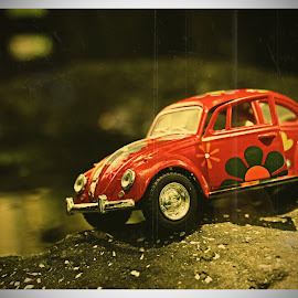 Flower power by Maggi Carless - Artistic Objects Toys ( 70s, toys, retro, toy cars, beetle )