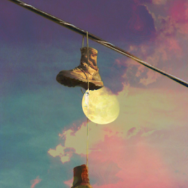 Moon Walk by Robert Ball - Digital Art Abstract ( abstract, moon, sunset, power lines, boots, military, artistic, object )