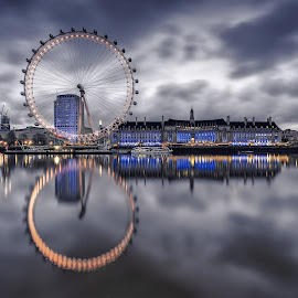 Wheel Storm by George Johnson - City,  Street & Park  Skylines ( landmark, reflection, wheel, london, storm,  )