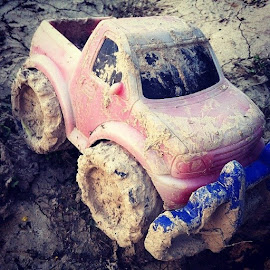 Mudding Wyatt style :) by Debbi Young - Instagram & Mobile iPhone ( muddy, truck, toys )