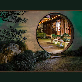 Chinese Garden by Tom Reiman - Artistic Objects Other Objects ( circular, door, garden, chinese )