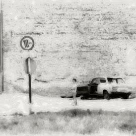 Going nowhere by Monika Schaible - Painting All Painting ( car, street sign, kreuzberg, desolate, empty, monika schaible, berlin, boy )