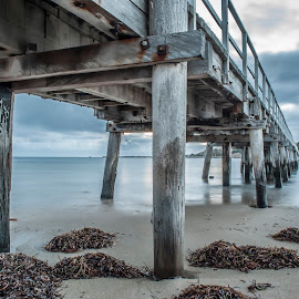 The Quiet by Sharon Wills - Buildings & Architecture Bridges & Suspended Structures ( water, south australia, sand, victor harbour, victor harbor, waves, jetty, beach,  )