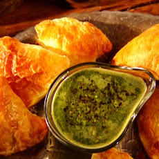 Baked Samosas with Mint Chutney