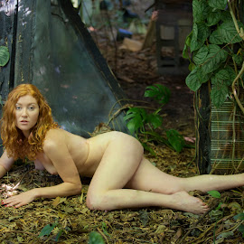 Help ! by Sandy Friedkin - Nudes & Boudoir Artistic Nude ( natural light, nude, on ground, woods, garden )