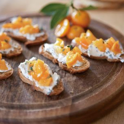 Crostini with Herbed Chèvre and Kumquats