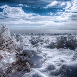 Jack Frost by William  Hurst - Landscapes Weather ( winter landscape, minnesota, ice, snow, lake superior )