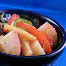 Baby Potatoes and Sweet Peppers in Tomato-Dill Butter