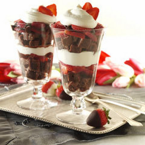 Decadent Brownie & Strawberry Parfaits