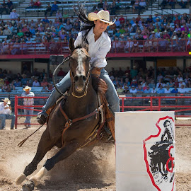 High-Speed Turn by Ty Stockton - Sports & Fitness Rodeo/Bull Riding ( barrel racing, barrels, rodeo, cowgirl, cheyenne frontier days )