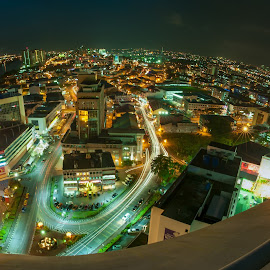 Kuching City Nighscape by Paul Alexander - City,  Street & Park  Skylines