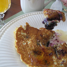 Blissful Blueberry & Walnut Pancakes with Warm Maple Syrup
