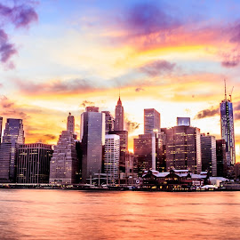 New York Sky Line by Shadab Farrukh - Landscapes Travel ( #new york, #new york city, #nyc, #skyline, #brooklyn, # sunset )