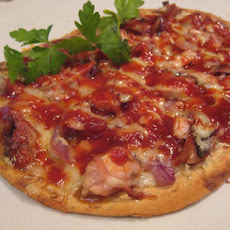 Flatbread Pizza With BBQ Chicken, Gruyere and Caramelized Onion