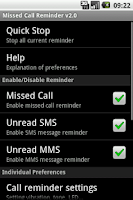 Screenshot of Missed Call Reminder